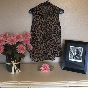 Forever 21 Sheer Animal Leopard Print Sleeveless